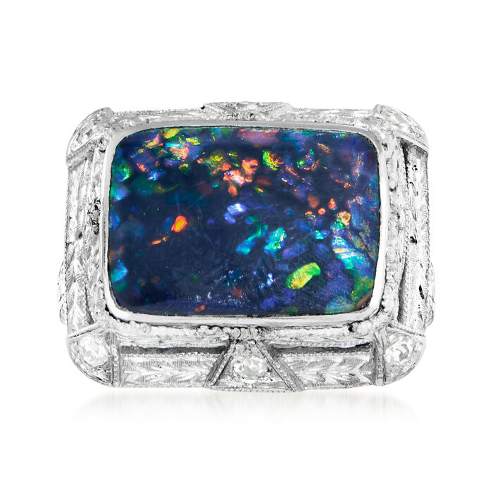 C. 1950 Vintage Black Opal and .15 ct. t.w. Diamond Ring in Platinum. Size 5.75