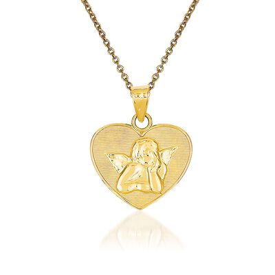 14kt Yellow Gold Angel Pendant Necklace, , default