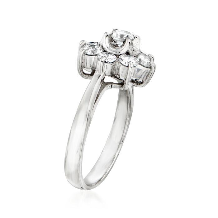 C. 1980 Vintage Tasaki 1.00 ct. t.w. Diamond Flower Ring in Platinum