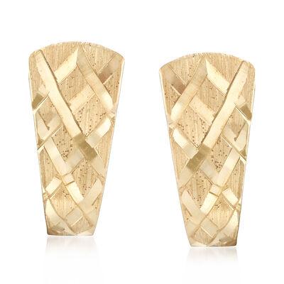 Basketweave Shield-Style Earrings in 14kt Yellow Gold, , default