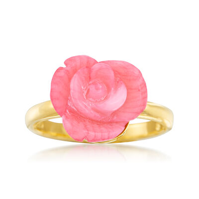 Carved Pink Coral Rose Ring in 14kt Gold Over Sterling