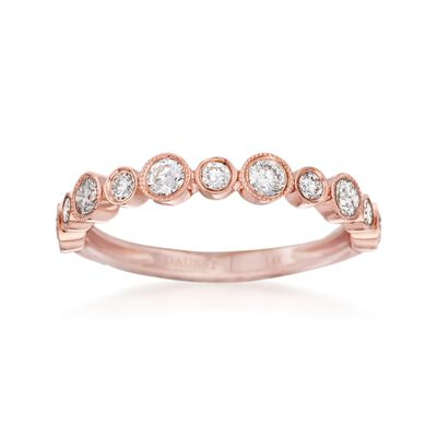 Henri Daussi .55 ct. t.w. Diamond Wedding Ring in 14kt Rose Gold