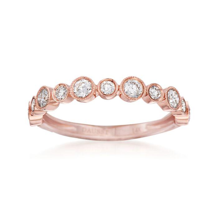 Henri Daussi .55 ct. t.w. Diamond Wedding Ring in 14kt Rose Gold, , default
