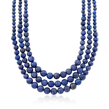 """4-10mm Graduated Blue Lapis Multi-Strand Bead Necklace With Sterling Silver. 16"""", , default"""