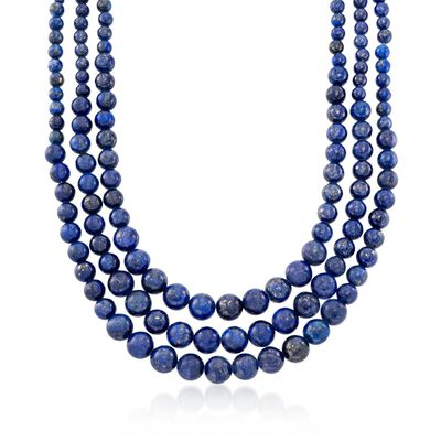 4-10mm Graduated Blue Lapis Multi-Strand Bead Necklace with Sterling Silver, , default