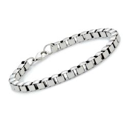 Men's Box Link Bracelet in Stainless Steel, , default