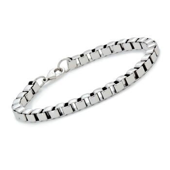 "Men's Box Link Bracelet in Stainless Steel. 8.5"", , default"
