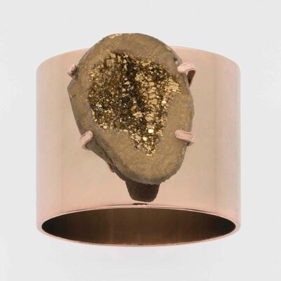 Joanna Buchanan Set of 2 Rose Gold Druzy Napkin Rings, , default