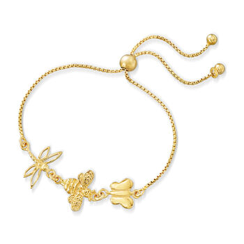 Italian 18kt Gold Over Sterling Butterfly, Bee and Dragonfly Bolo Bracelet