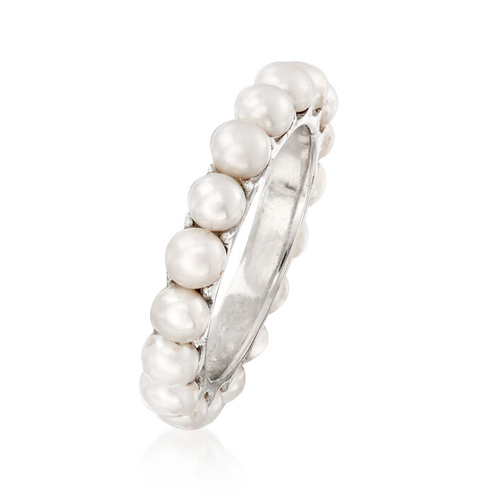 3.5-3.75mm Cultured Pearl Eternity Ring in Sterling Silver