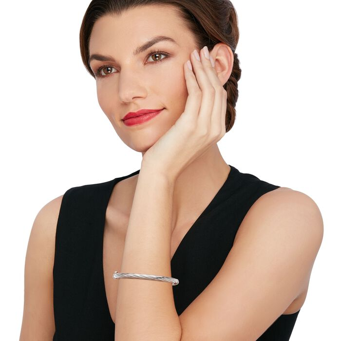 Italian Sterling Silver Diamond-Cut Bangle Bracelet