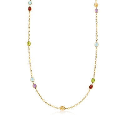 C. 1980 Vintage 19.80 ct. t.w. Multi-Gem Station Necklace in 14kt Yellow Gold