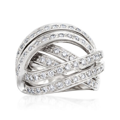 C. 1990 Vintage 1.30 ct. t.w. Diamond Highway Ring in 18kt White Gold