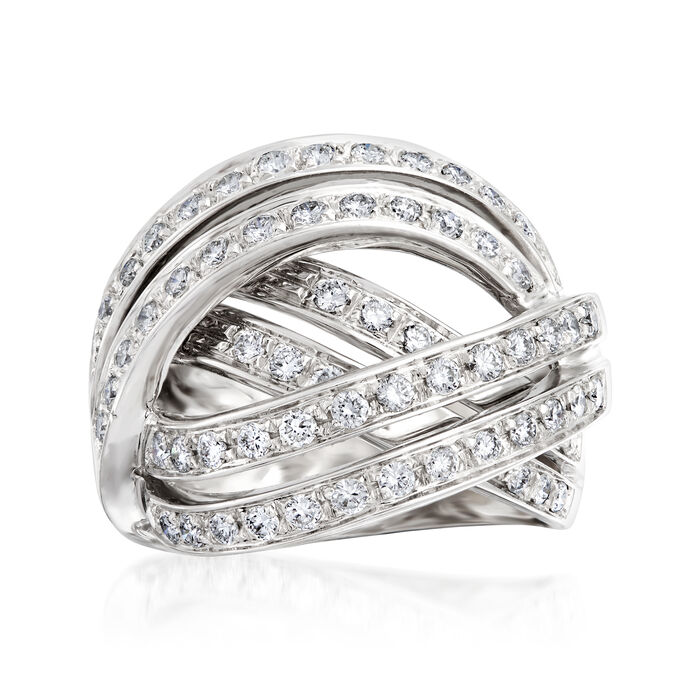 C. 1990 Vintage 1.30 ct. t.w. Diamond Highway Ring in 18kt White Gold. Size 6.5, , default