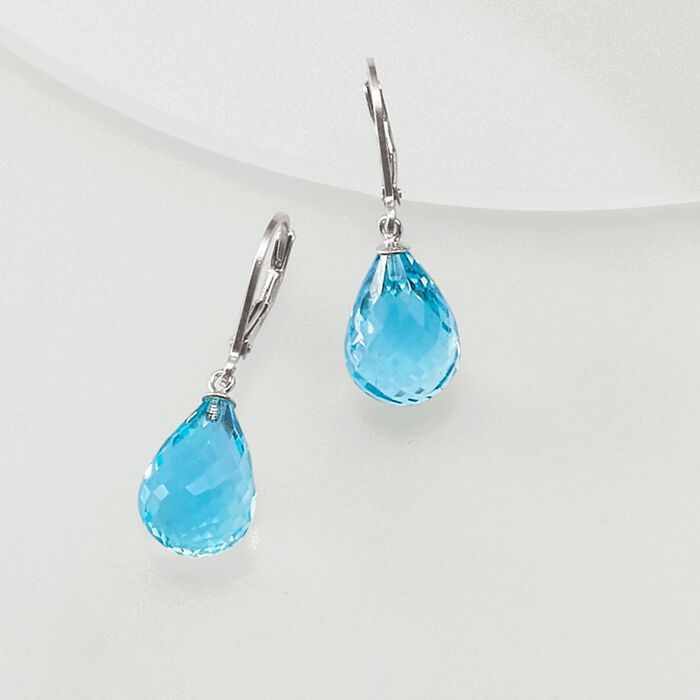 15.00 ct. t.w. Blue Topaz Drop Earrings in Sterling Silver