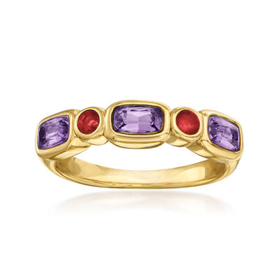 .60 ct. t.w. Amethyst and .10 ct. t.w. Ruby Ring in 14kt Yellow Gold, , default