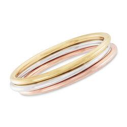 Italian Andiamo 14kt Tri-Colored Gold Jewelry Set: Three Polished Bangle Bracelets, , default