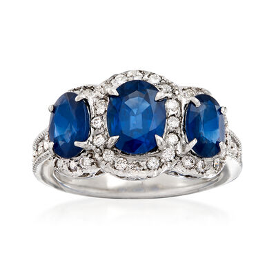3.30 ct. t.w. Sapphire and .42 ct. t.w. Diamond Three-Stone Ring in 14kt White Gold, , default