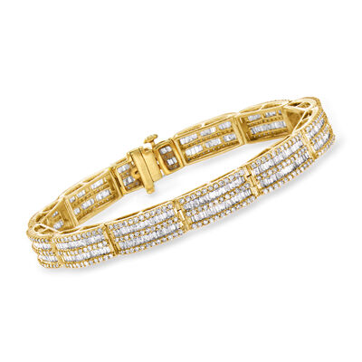 6.00 ct. t.w. Baguette and Round Diamond Bracelet in 14kt Yellow Gold