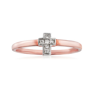C. 1990 Vintage Diamond-Accented Cross Ring in 14kt Rose Gold, , default