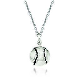 "Sterling Silver Enamel Baseball Pendant Necklace. 18"", , default"
