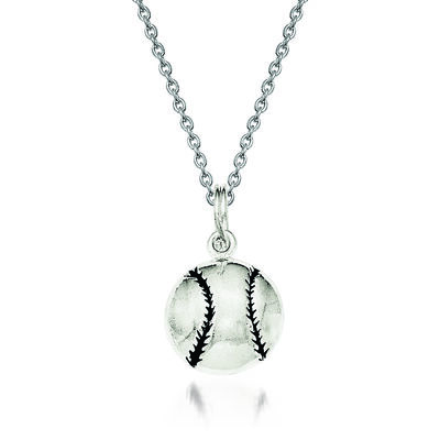 "Sterling Silver Enamel Baseball Pendant Necklace. 18"", , default"