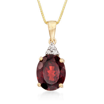 2.80 Carat Garnet Pendant with Necklace with Diamond Accents in 14kt Yellow Gold