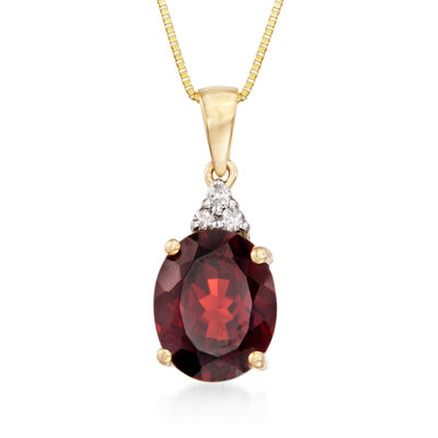 2.80 Carat Garnet Pendant with Necklace with Diamond Accents in 14kt Yellow Gold, , default