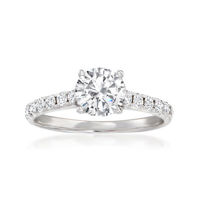 .32 ct. t.w. Pave Diamond Engagement Ring Setting in 14kt White Gold