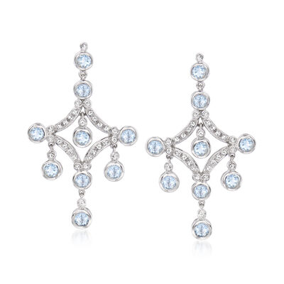 4.50 ct. t.w. Aquamarine and .52 ct. t.w. Diamond Chandelier Earrings in 14kt White Gold
