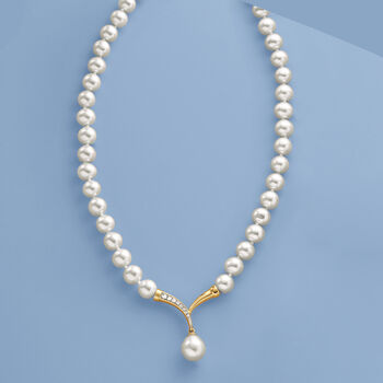 """Cultured Pearl and .10 ct. t.w. Diamond Fluted """"V"""" Necklace with 14kt Yellow Gold"""