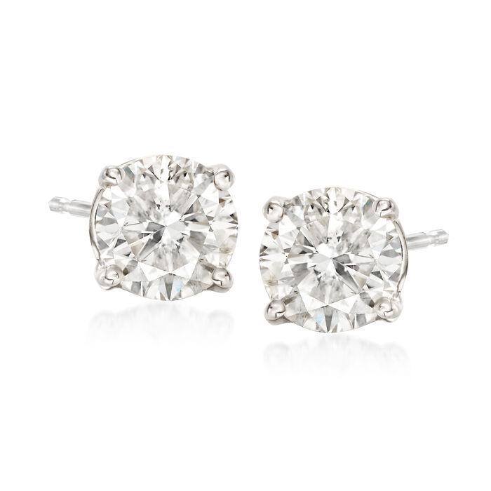 1.75 ct. t.w. Diamond Stud Earrings in 14kt White Gold, , default