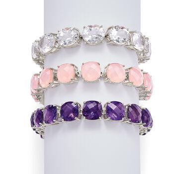 10mm Pink Chalcedony Tennis Bracelet in Sterling Silver, , default
