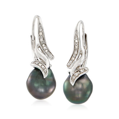 9-9.5mm Black Cultured Tahitian Pearl Drop Earrings with Diamond Accents in Sterling Silver, , default