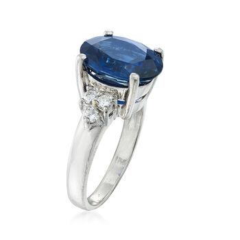 C. 1990 Vintage 3.67 Carat Sapphire and .20 ct. t.w. Diamond Ring in Platinum. Size 5, , default