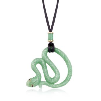 Green Jade Snake Pendant Necklace With Sapphire Accents and Black Satin Cord , , default