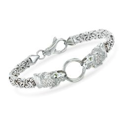 .75 ct. t.w. CZ Double Panther Head Byzantine Bracelet With Simulated Emeralds in Sterling Silver, , default