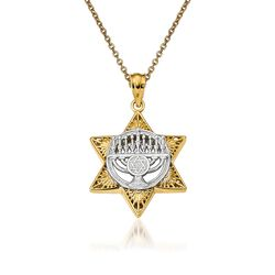 "14kt Two-Tone Gold Star of David Pendant Necklace. 18"", , default"