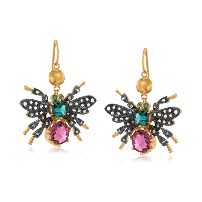 C. 1980 Vintage 3.30 ct. t.w. Multicolored Tourmaline and .30 ct. t.w. Diamond Bee Drop Earrings in Two-Tone Sterling Silver, , default