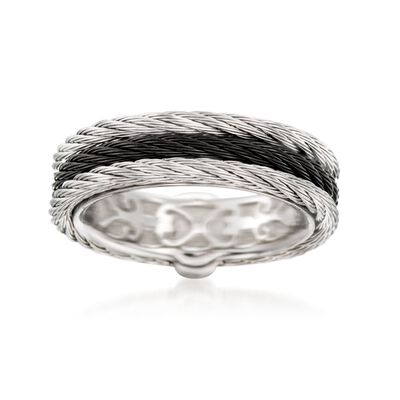"ALOR ""Noir"" Black and Gray Stainless Steel Cable Ring"