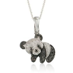 "Black and White Diamond Accent Panda Bear Pendant Necklace in Sterling Silver. 18"", , default"