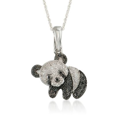 .15 ct. t.w. Black and White Diamond Panda Bear Pendant Necklace in Sterling Silver, , default