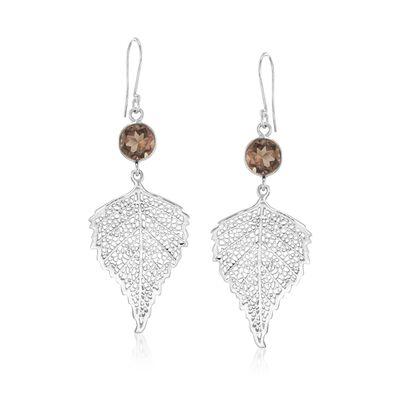 4.00 ct. t.w. Smoky Quartz Leaf Drop Earrings in Sterling Silver, , default
