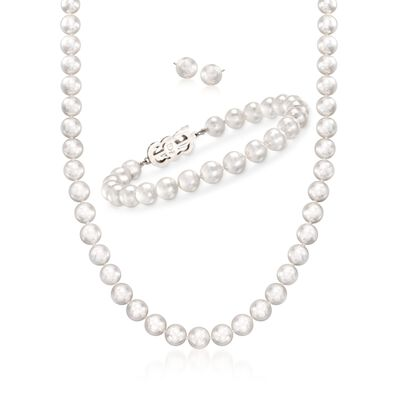 Mikimoto 4-7mm A1 Akoya Pearl Jewelry Set: Earrings, Bracelet, and Necklace with 18kt White Gold, , default