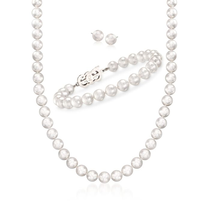 Mikimoto 4-7mm A1 Akoya Pearl Jewelry Set: Earrings, Bracelet, and Necklace with 18kt White Gold. 18""