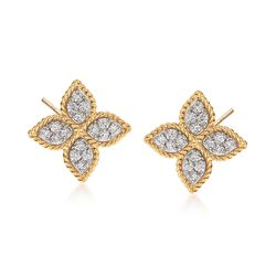 "Roberto Coin ""Princess"" .38 ct. t.w. Diamond Flower Earrings in 18kt Yellow Gold, , default"