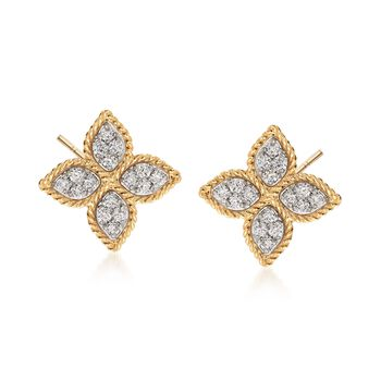 """Roberto Coin """"Princess"""" .38 ct. t.w. Diamond Flower Earrings in 18kt Yellow Gold , , default"""