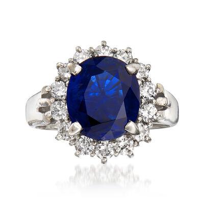 C. 1990 Vintage 3.82 Carat Sapphire and .84 ct. t.w. Diamond Ring in Platinum, , default