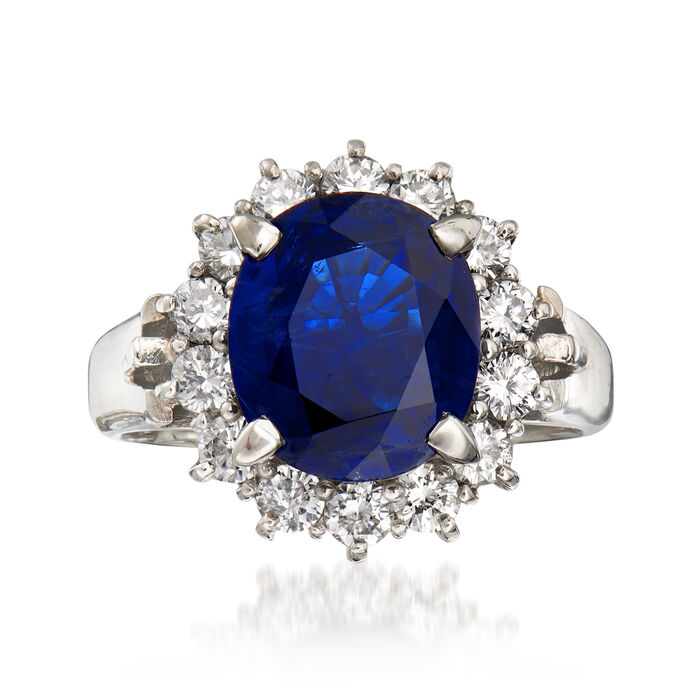 C. 1990 Vintage 3.82 Carat Sapphire and .84 ct. t.w. Diamond Ring in Platinum. Size 6