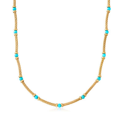 C. 1990 Vintage David Yurman Turquoise Station Necklace in 18kt Yellow Gold